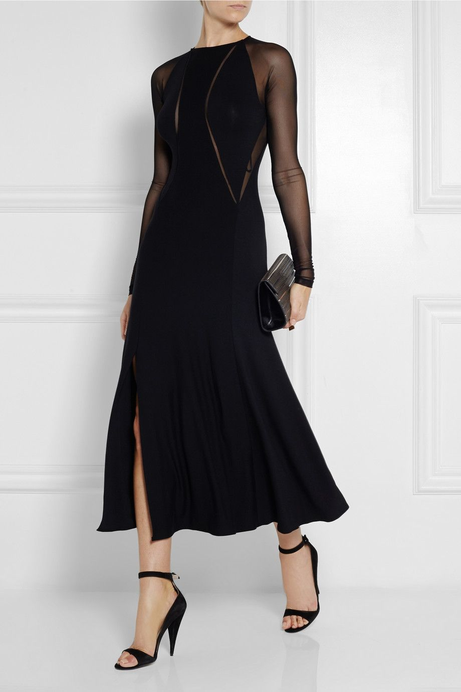 Donna karan meshpaneled stretchjersey maxi dress netaporter