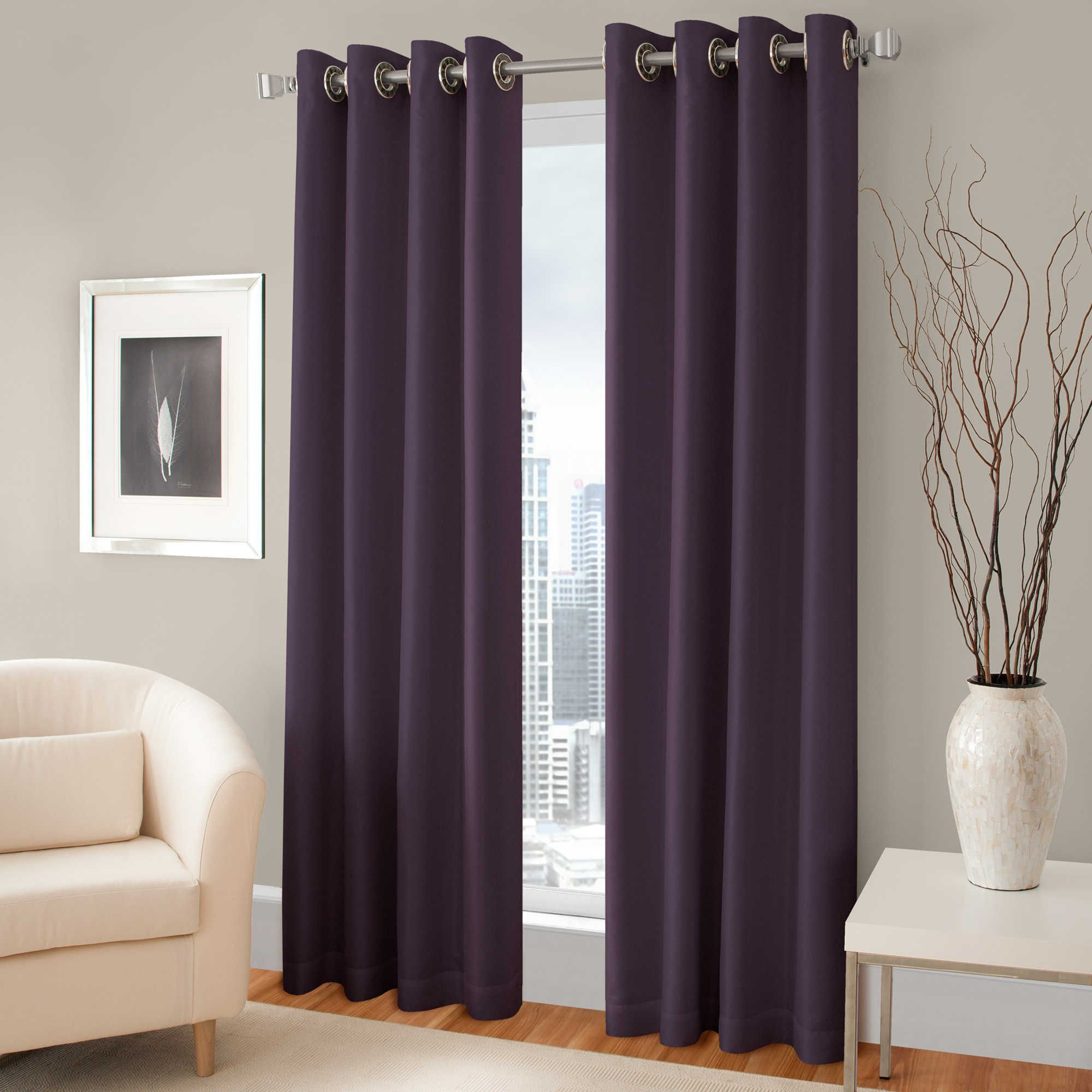 Pretty purple room darkening curtains with silver rods on for Wall to wall curtain