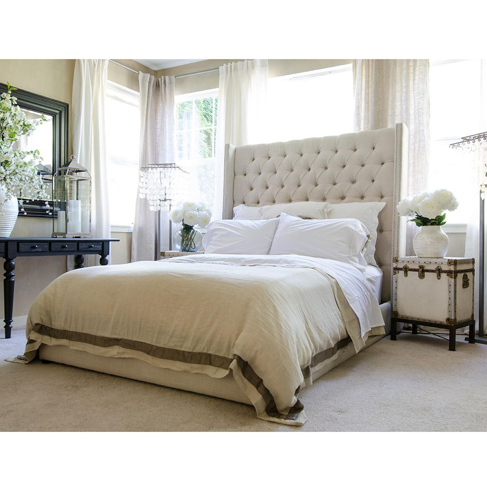 Elements Fine Home Chelsea Standard King Bed in Seashell Fabric w