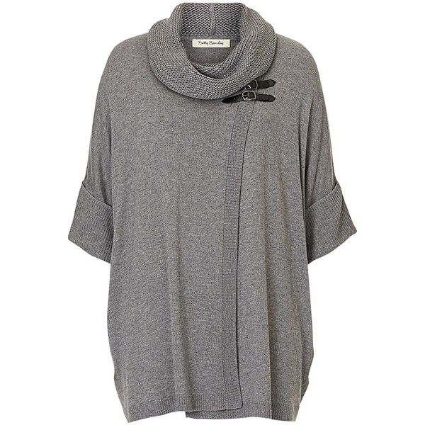Betty Barclay Oversized Wrap Jumper , Grey Melange ($86) ❤ liked ...