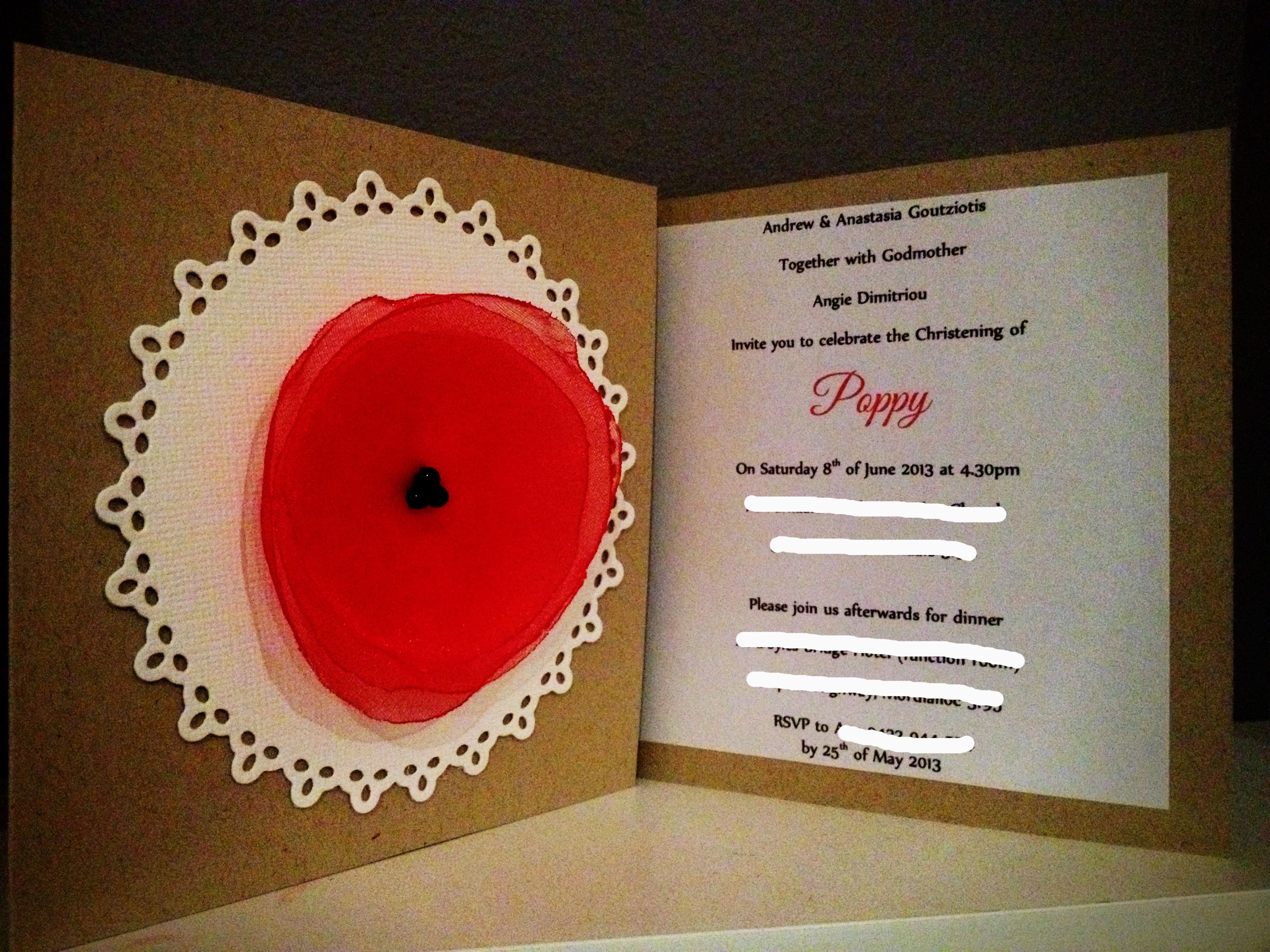 Poppy/Doilie Themed Christening Invitations | {our creations ...