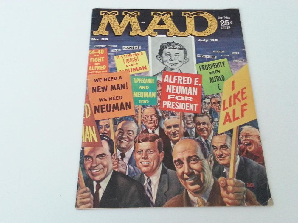 Vintage Mad Magazine No. 56 July 1960 Alfred E. Neuman for President Cover