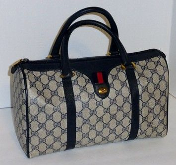 Gucci Vintage Accessory Collection Monogram Canvas Speedy Boston Navy Blue, Red And Off-White Bag - Satchel $268