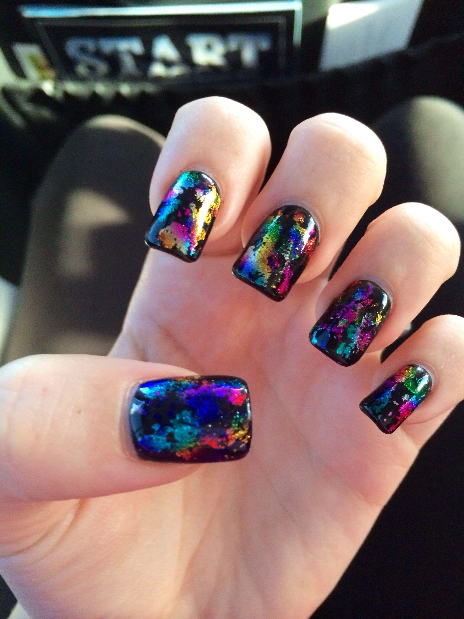 Black nails with rainbow foil! | Nails | Pinterest | Black nails