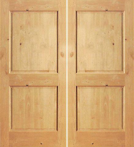 Prehung Slab Knotty Alder 2 Panel S/W 98 Interior Double Door 80 84
