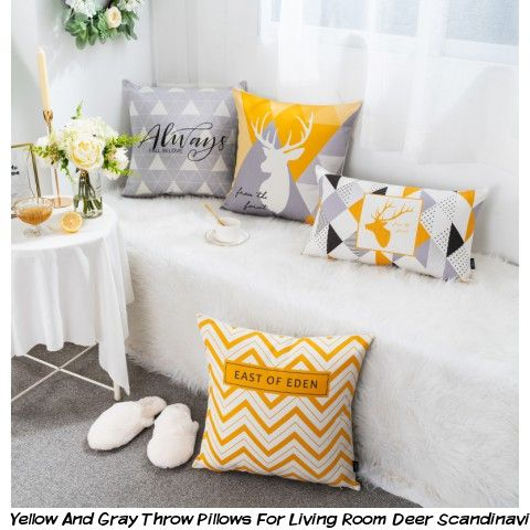 Stupendous Yellow And Gray Throw Pillows For Living Room Deer Dailytribune Chair Design For Home Dailytribuneorg