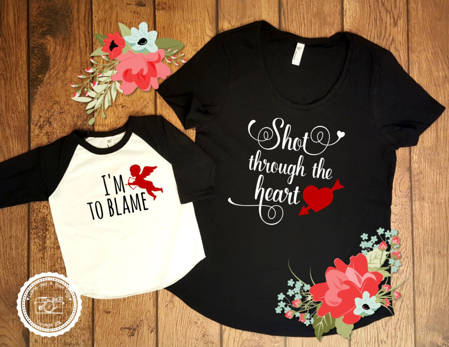 3b49488a79e7be Valentines Day Mommy and Me- Shot Through the Heart- Bon Jovi Shirt- Baby  First Valentines Outfit- Mother Son Mother Daughter Matching- #063 by ...