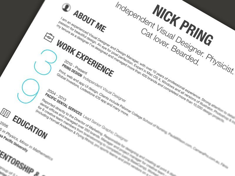 Super Simple But Really Attractive Look Love The Footer Creative Resume Design Resume Sty Resume Design Template Resume Design Professional Resume Design