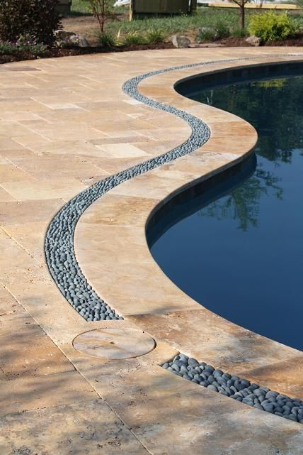 Travertine pool patio,coping and river rock border. in 2019 | Pool ...