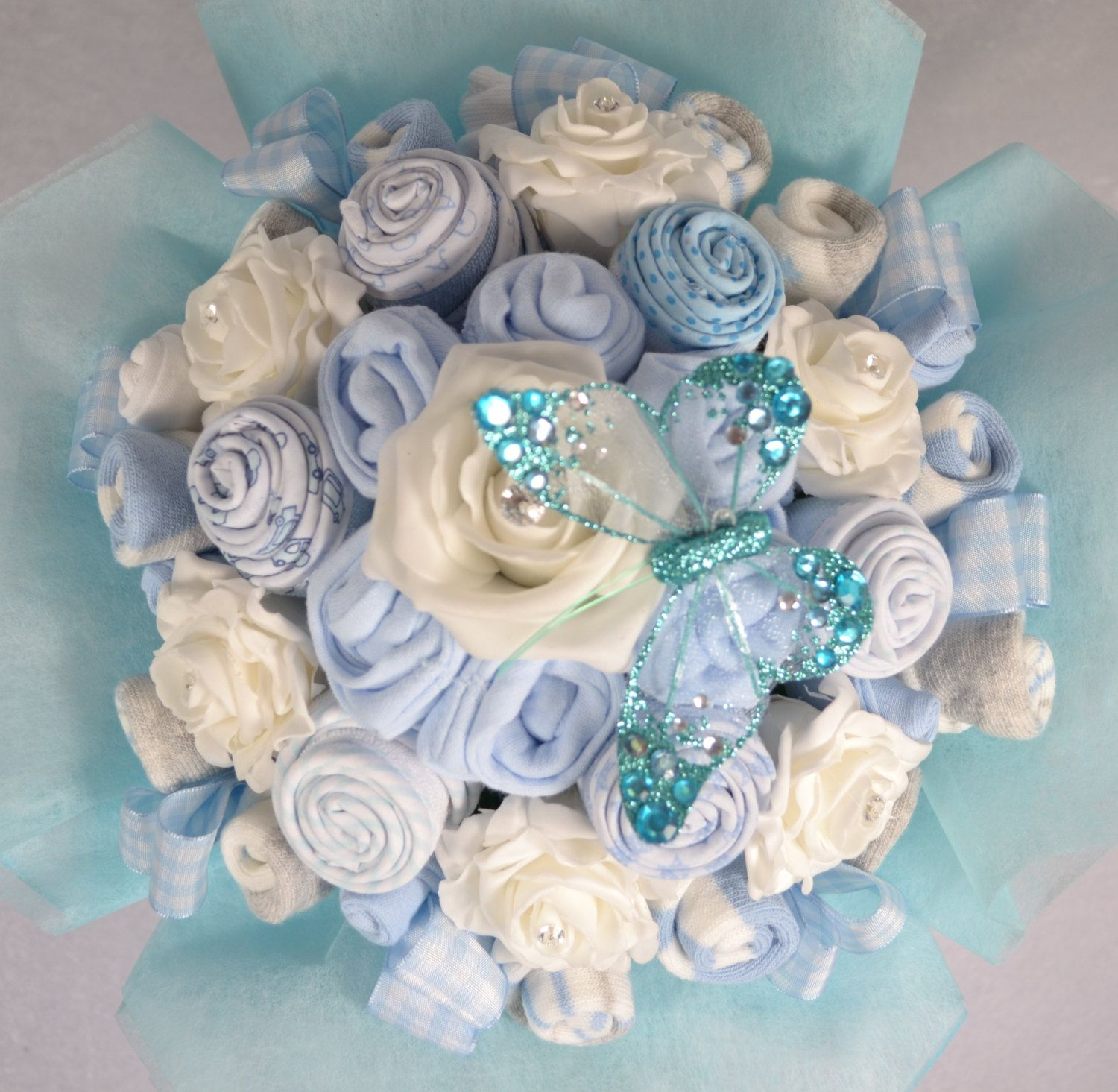 Baby Bouquet 19 items of Baby Clothes Baby Shower Gift Nappy