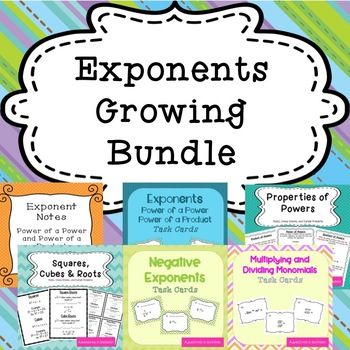 Exponents Growing Bundle | Dividing monomials, Special education and ...