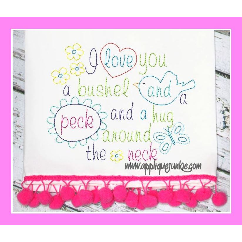 Download I love you a Bushel and a Peck Embroidery Design ...