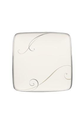 Noritake Classic Silver Platinum Wave Small Square Accent Plate