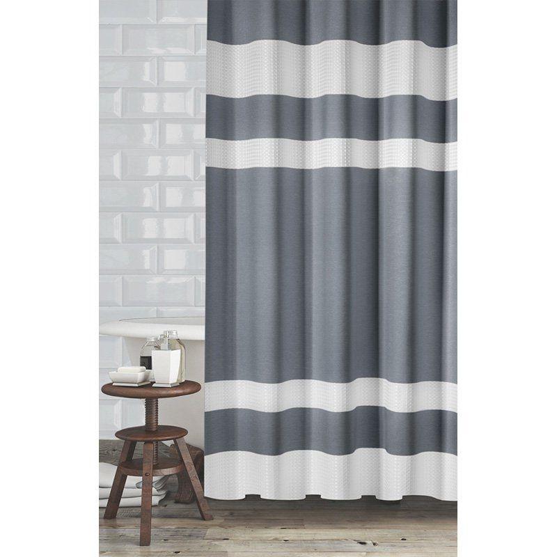 Popular Bath New England Shower Curtain Grey White 832105