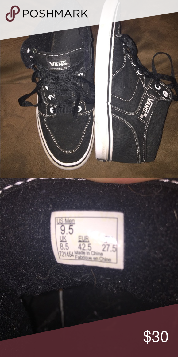 29c621462af Vans 9.5 men s shoes Black and white vans . Son outgrew them fast