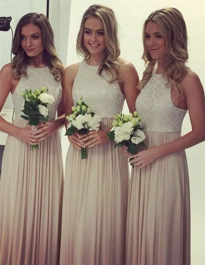 Simple Light Champagen Jewel Sleeveless with Lace Long Bridesmaid Dress d270bf44676e