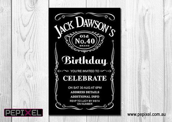 birthday invitation: jack daniels invitation, mens invitation, Invitation templates