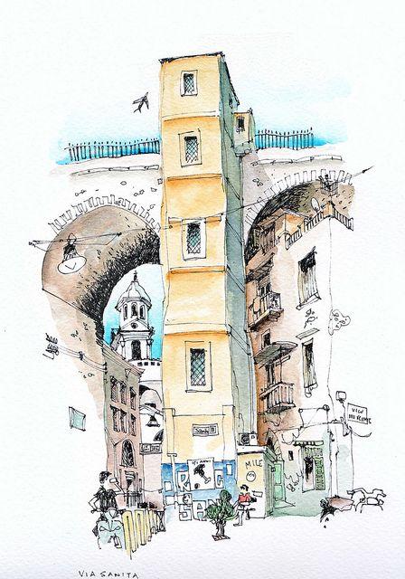Via Sanita, Naples | Acuarela, Dibujo urbano y Dibujo