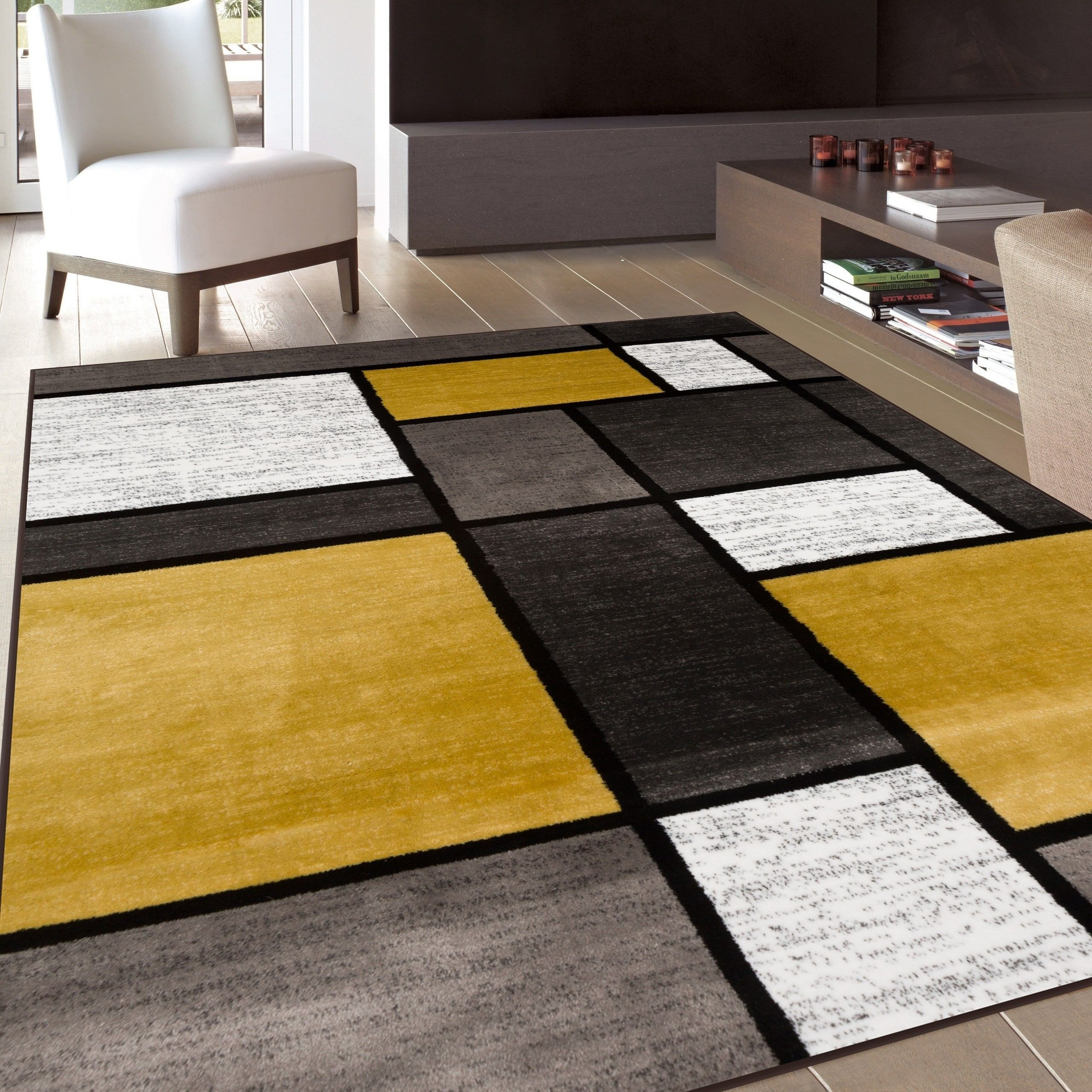 Osti contemporary modern boxes yellow area rug 9 x 12 9 x 12 size 9 x 12 polypropylene geometric
