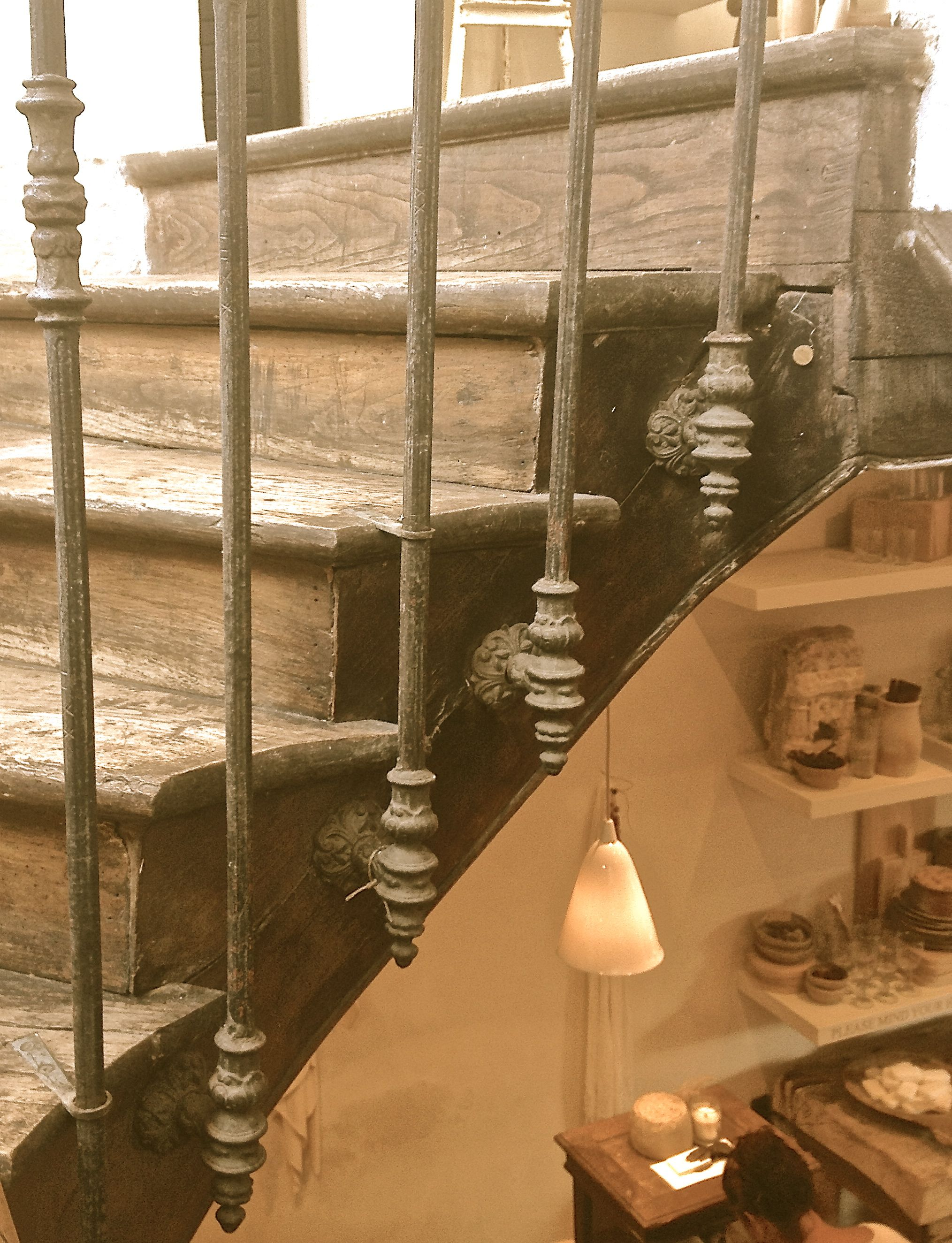 Best Custom Built Stair Railing Using Antique Iron Spindles 640 x 480
