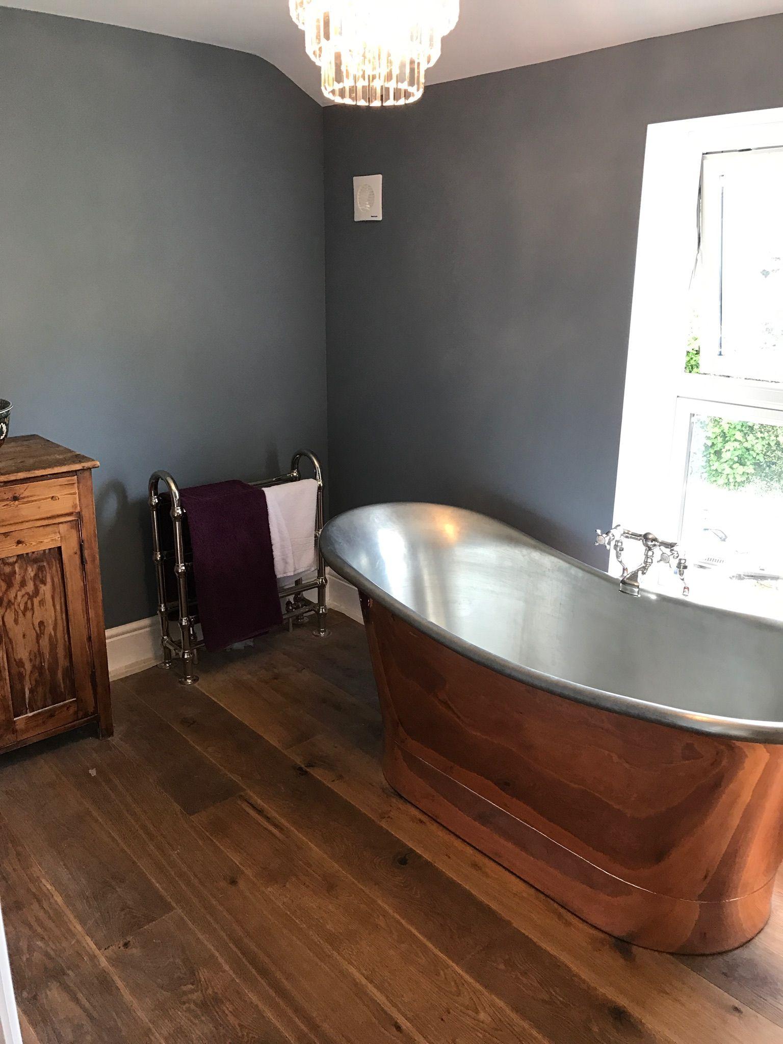Copper Bateau Bath Tub Oak Flooring Dulux Denim Drift Paint