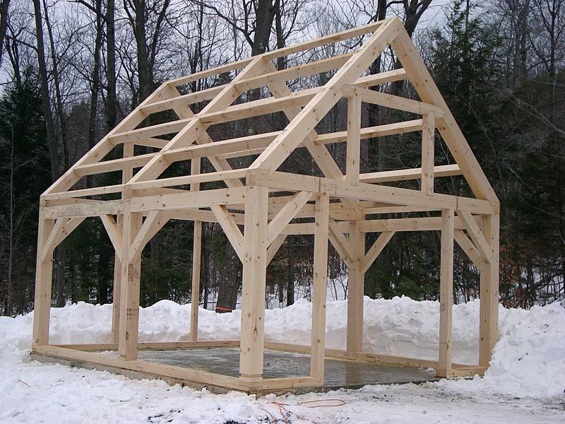 Timber frame shed things to build pinterest beams for Timber frame cottage kits