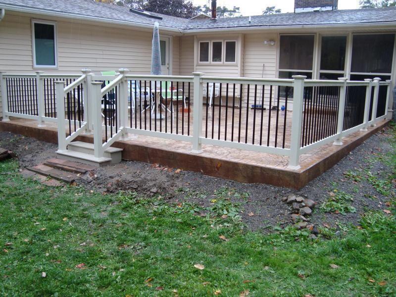 Railings The Vinyl Outlet Patio Railing Patio Fence Concrete | Railing For Concrete Porch | Residential | Paver Patio | Hand | Flagstone Porch | Repair