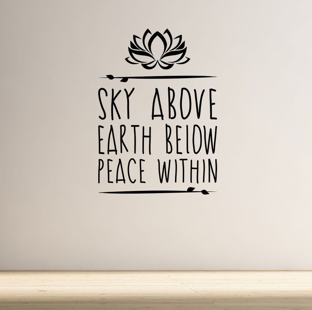 Sky above yoga wall decal quote lotus flower meditation health