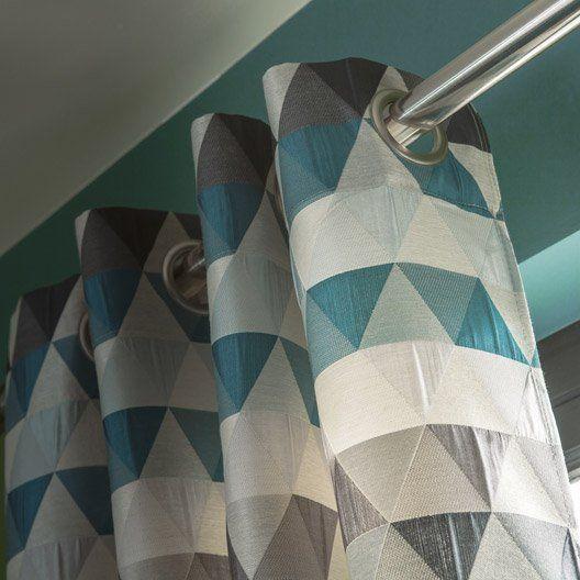 Rideau Triangles Bleu Pétrole L140 X H260 Cm Rideaux