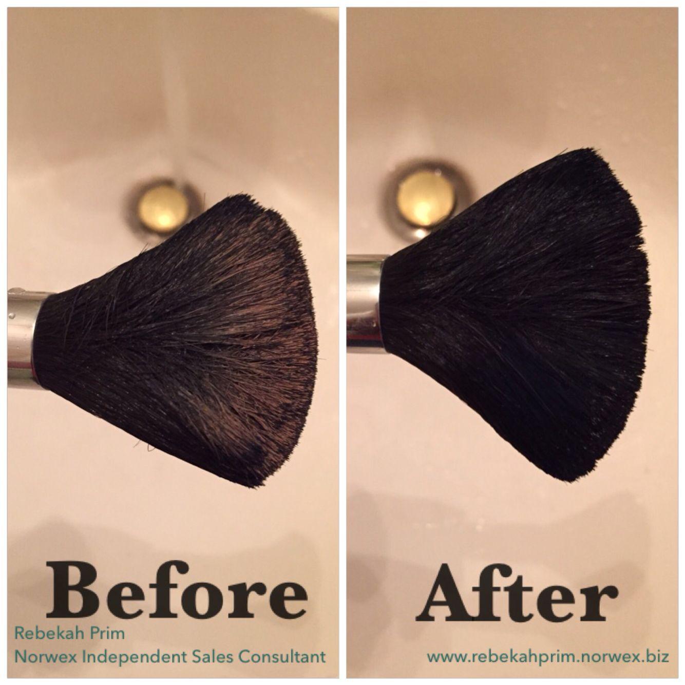 Love using Norwex dishwashing soap to clean makeup brushes
