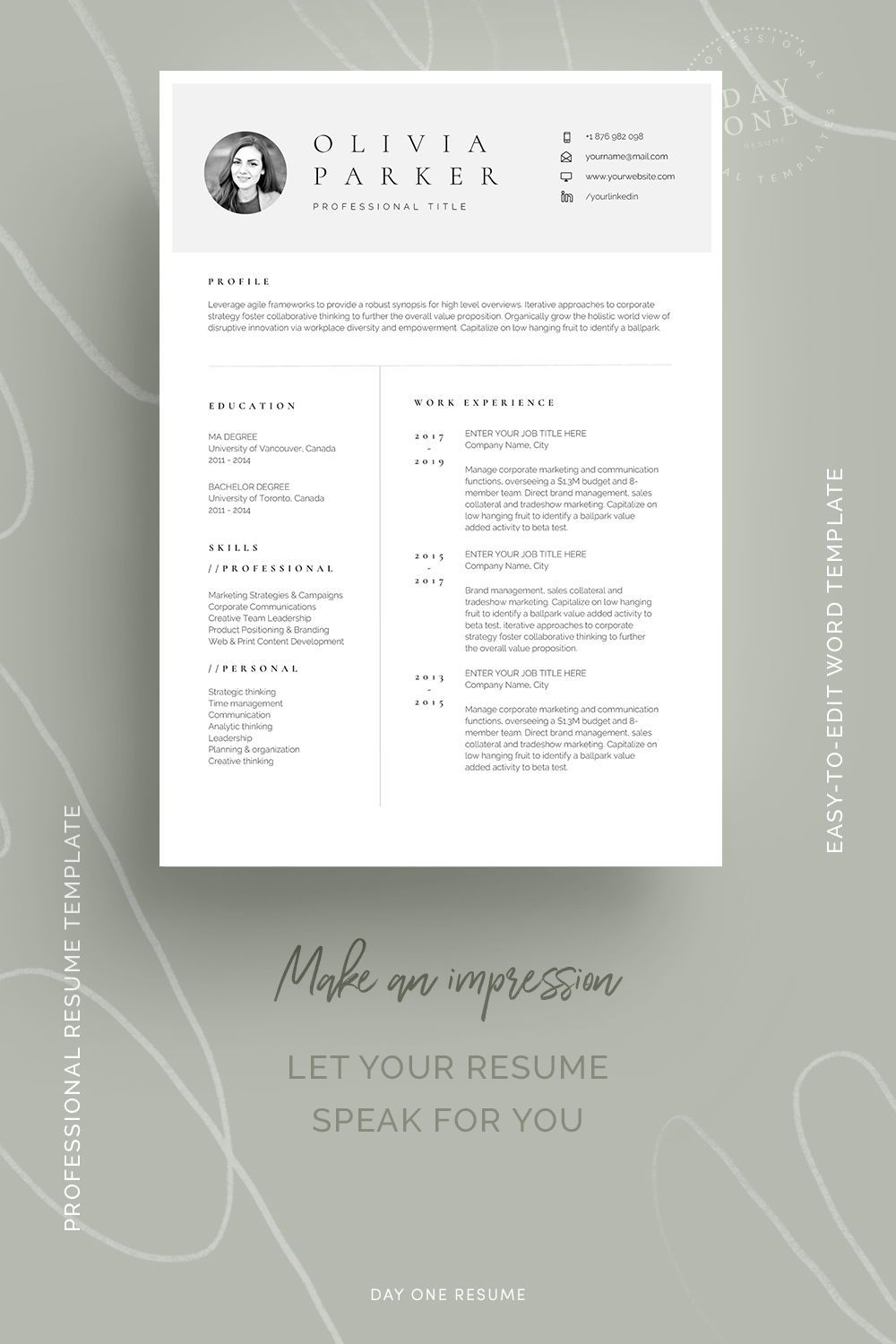 One page resume with photo one page minimal resume