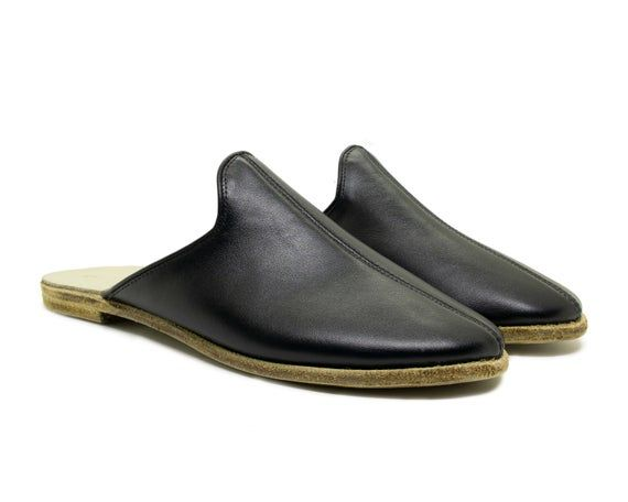 Photo of Denels Handmade Women Black Leather Slippers / Incinta Flat Mocassini / Sandali estivi morbidi / Intasati per scarpe da donna / Regalo di compleanno