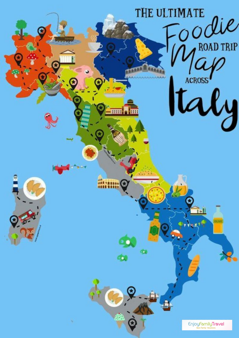 italy destinations foodie road trip map