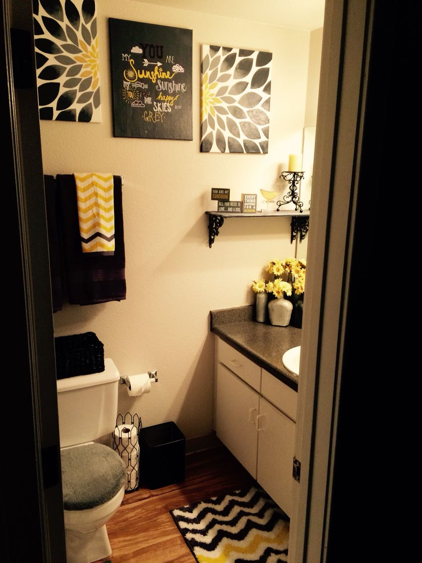 Yellow Grey And Black You Are My Sunshine Theme Bathroom All