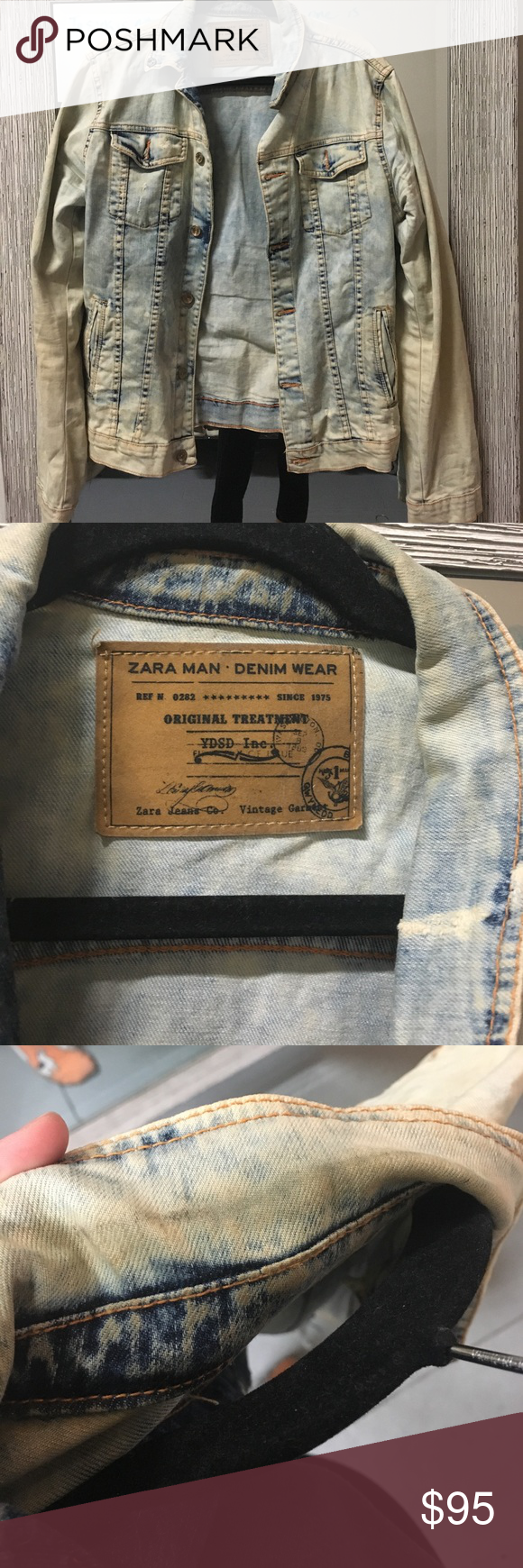 """ZARA MENS DENIM JACKET Great quality. Slight neck stain, can't tell if that was from wear, or part of the """"distressed look""""....98% cotton, 2% elastaine Zara Jackets & Coats Military & Field"""