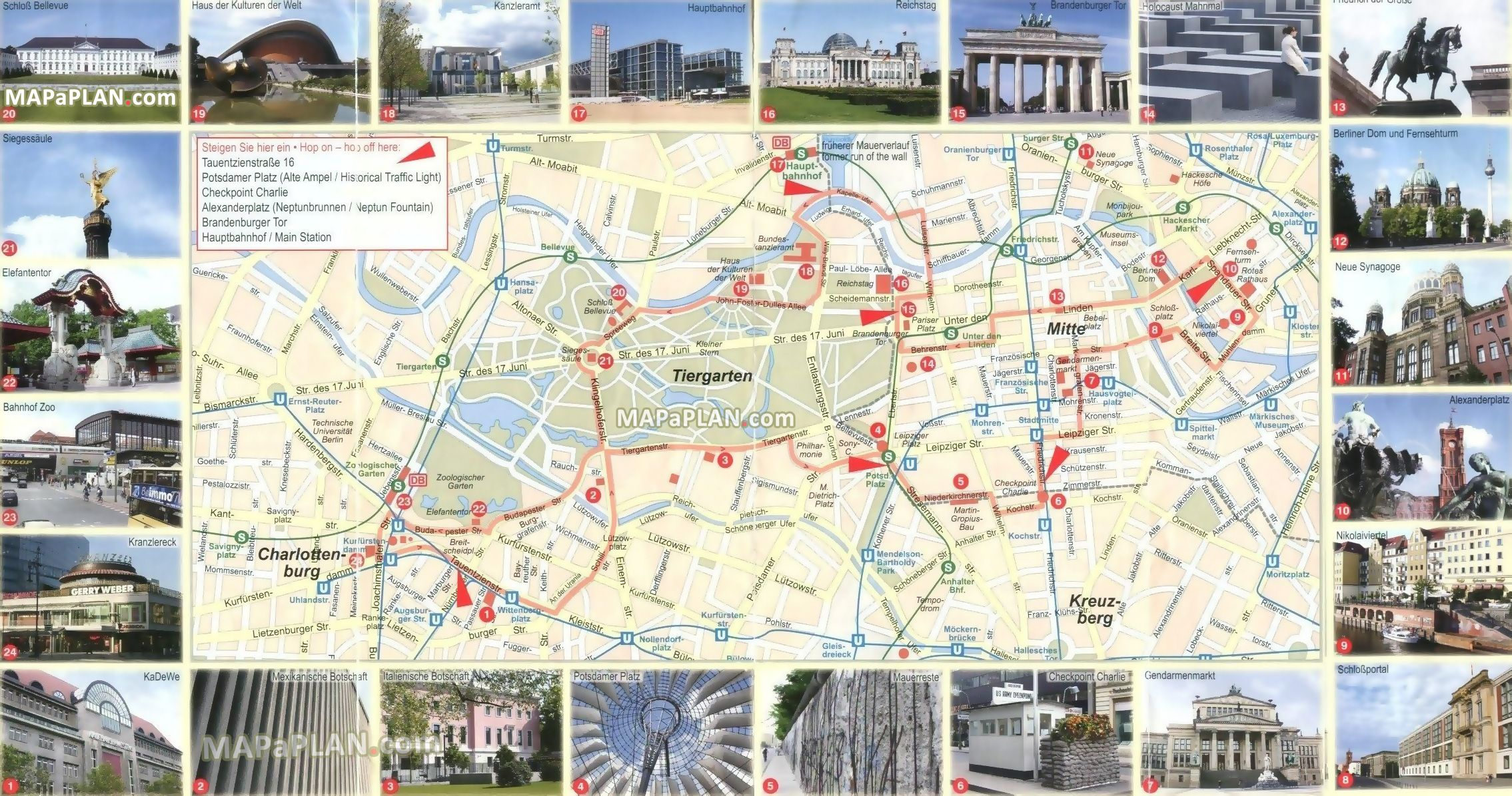 Berlin map - Free virtual map with 24 images of famous