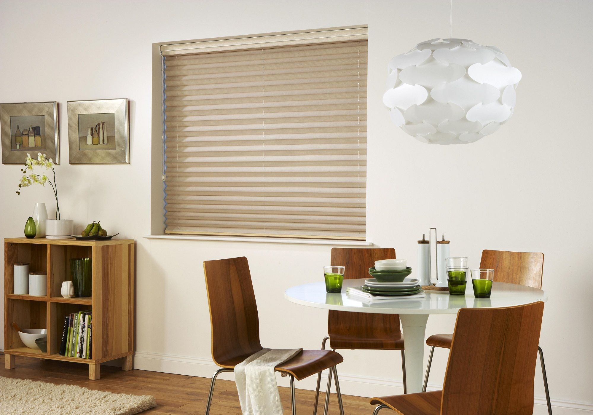 Adorable Window Blinds Design In Dining Room With White Round Table And Brown Chair