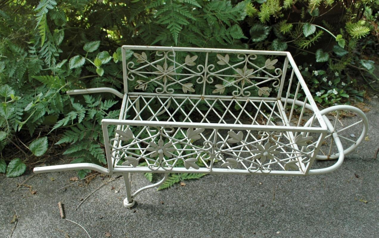 White Painted Metal Flower Cart Plant Stand Decorative Garden Piece ...