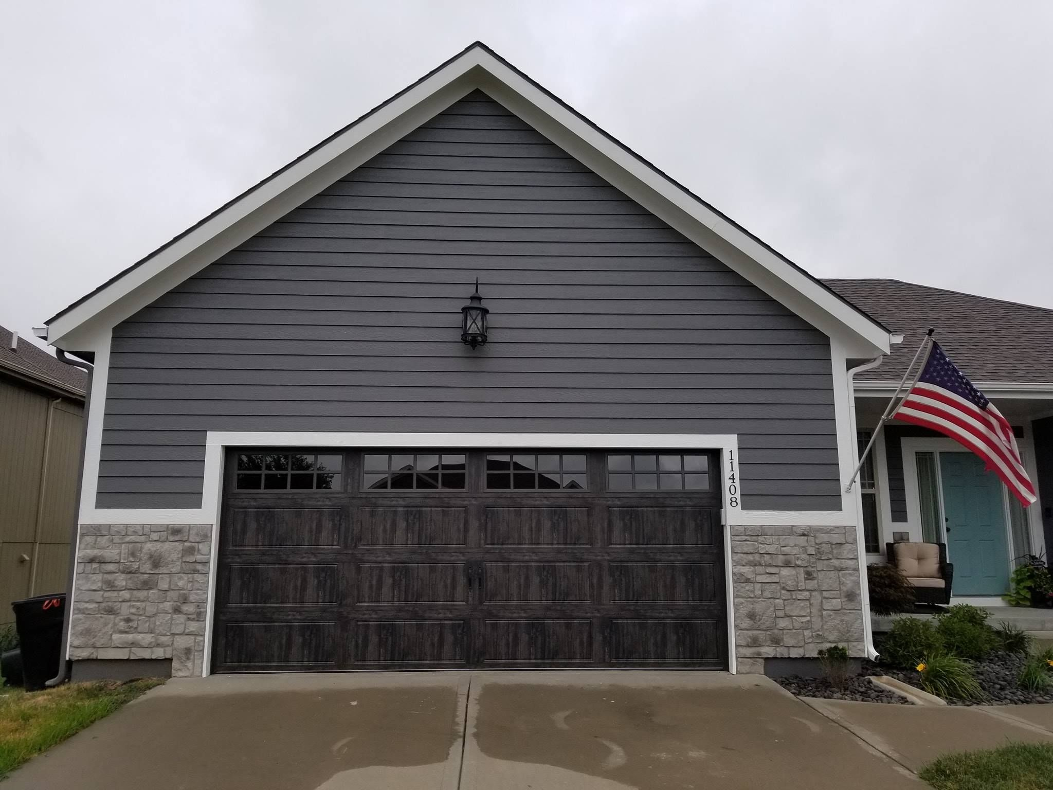 Gray Faux Wood Garage Door Faux Wood Garage Door Wood Style Garage Doors Garage Doors
