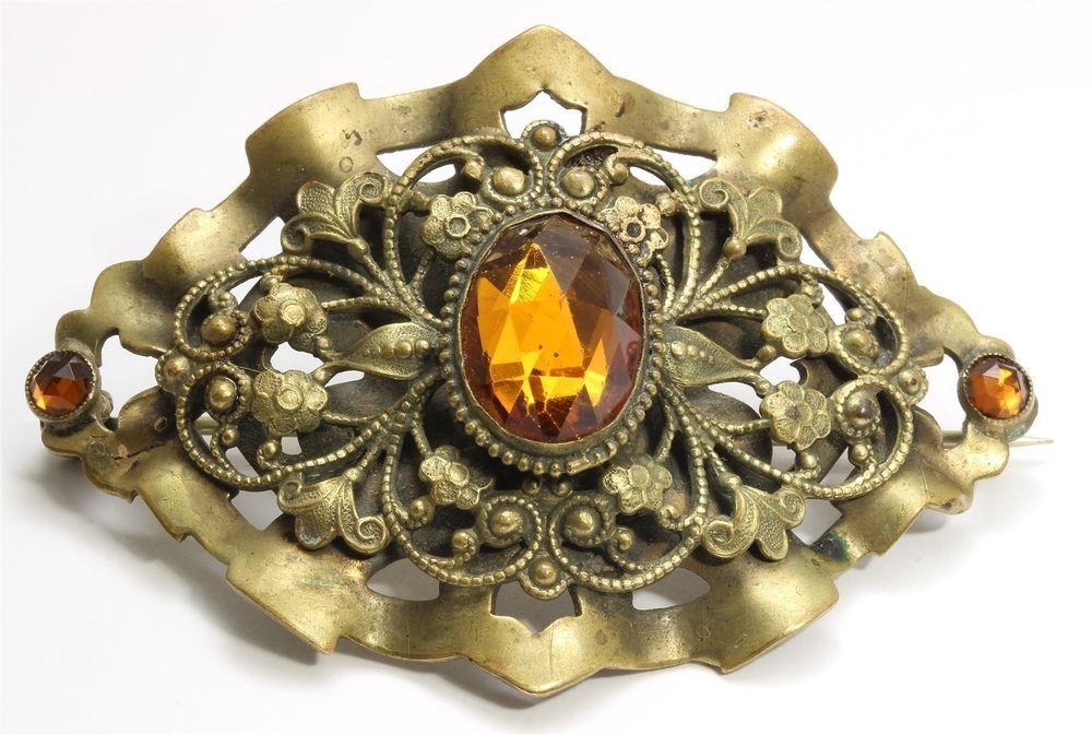 763072c4d Vintage Art Deco Large Ornate Czech Bohemian Topaz Glass Floral Sash Brooch  Pin   eBay