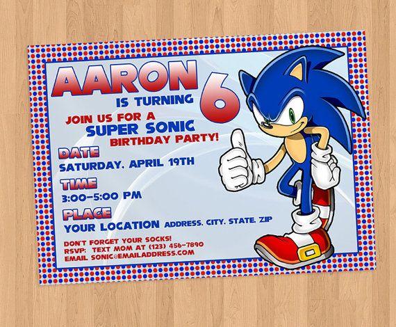Sonic El Hedgehog Cumpleaños Invitación Imprimible Diy