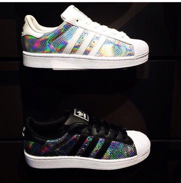 adidas superstars black holographic