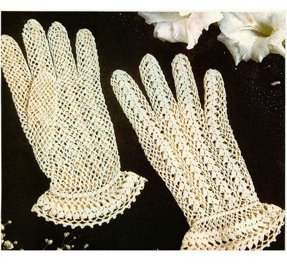 Crochet Gloves Pattern Crochet Lace Gloves Pattern Vintage Crochet ...