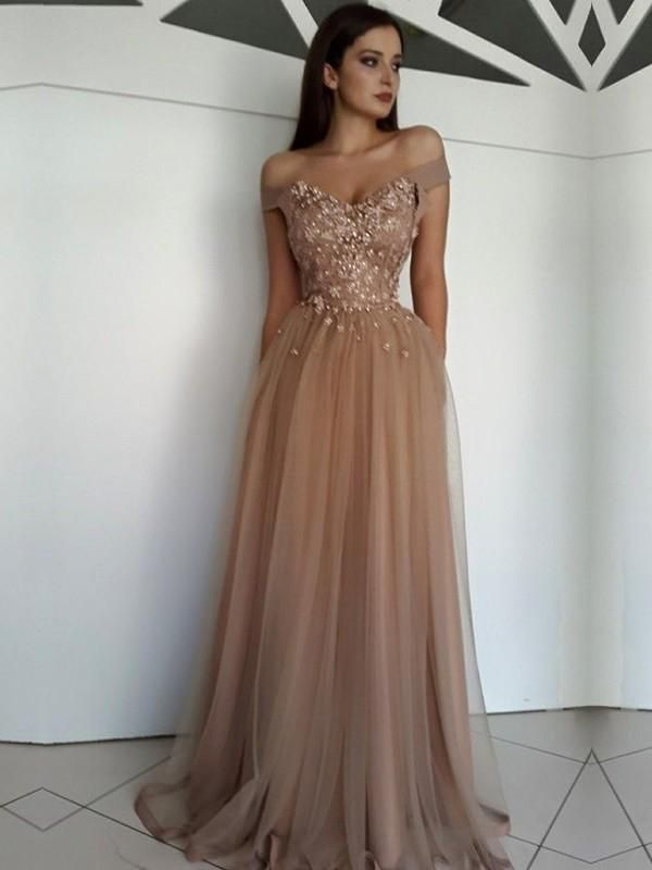 Princess Sleeveless OfftheShoulder FloorLength Applique Tulle Dresses YB33PO1676 - Prom dresses lace, Evening dresses prom, Evening dresses long, Tulle prom dress, Champagne prom dress, Cheap prom dresses - Princess Sleeveless OfftheShoulder FloorLength Applique Tulle Dresses YB33PO1676, When shopping for your 2020 prom gown, it is important to find a style that complements your figure
