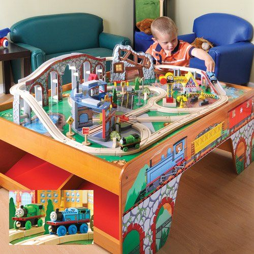 Wood Train Table W/ Talking Thomas U0026 Percy For Kids