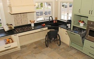 Space Under The Corner Sink And Cabinets Accommodates A Wheelchair