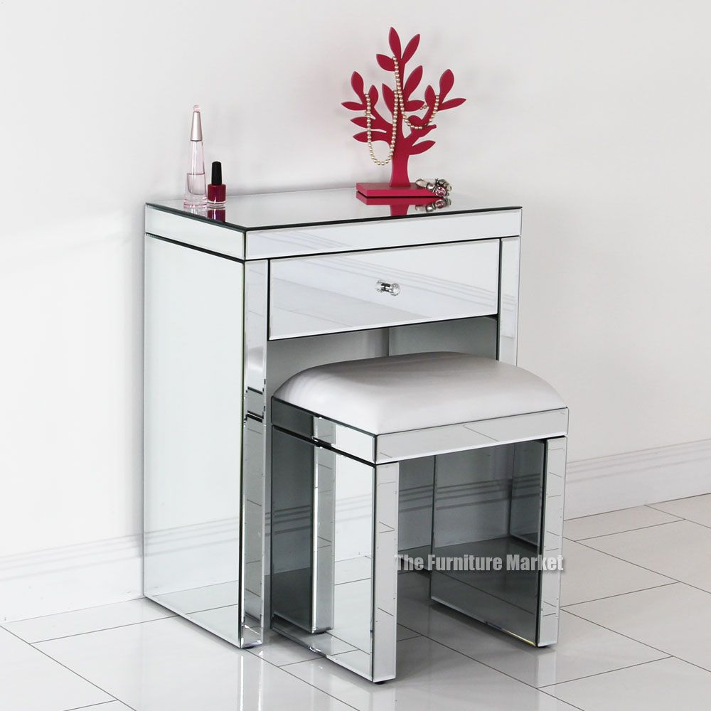 Venetian Mirrored Compact Dressing Table With White Stool