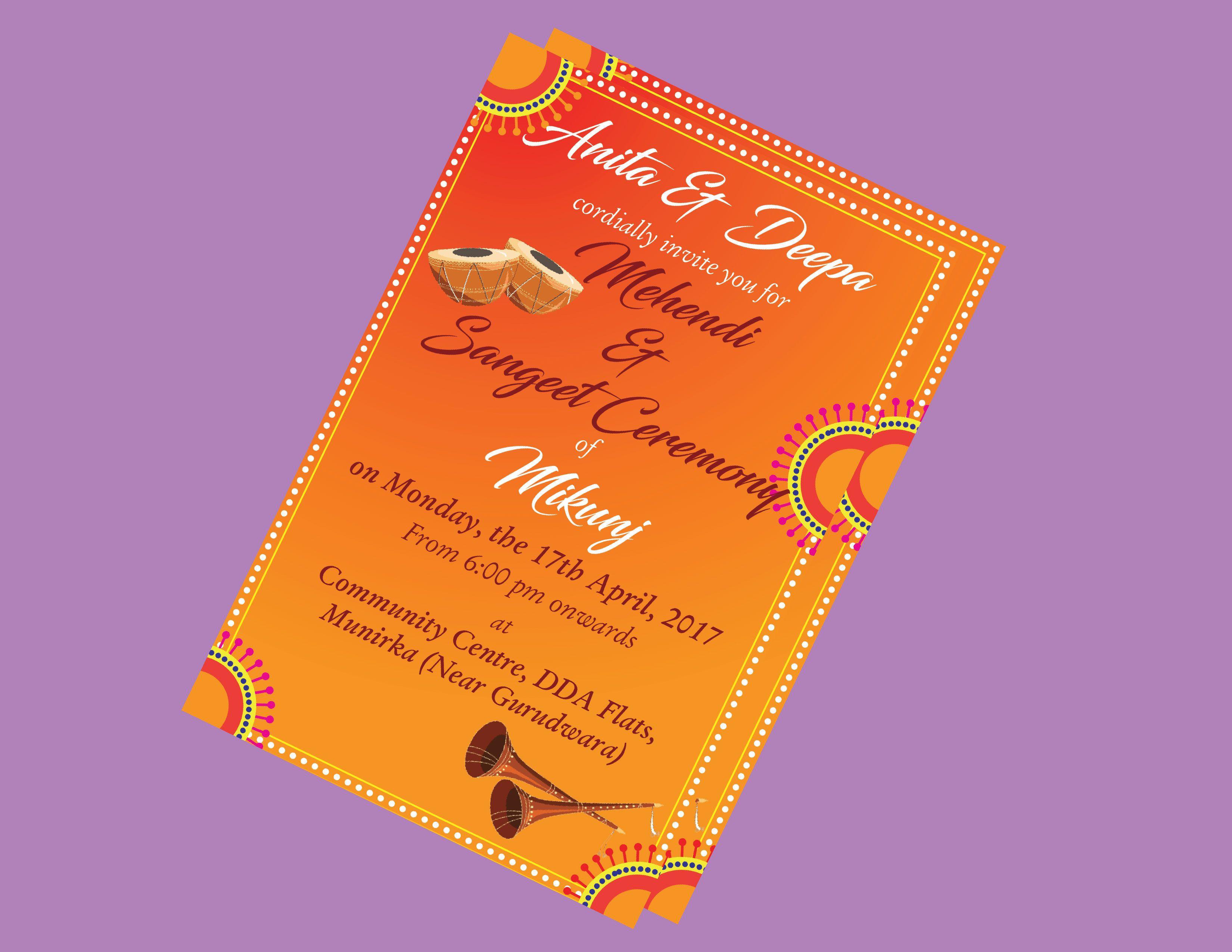 Mehendi Ladies Sangeet Sangeet Invitation Card Groom Night