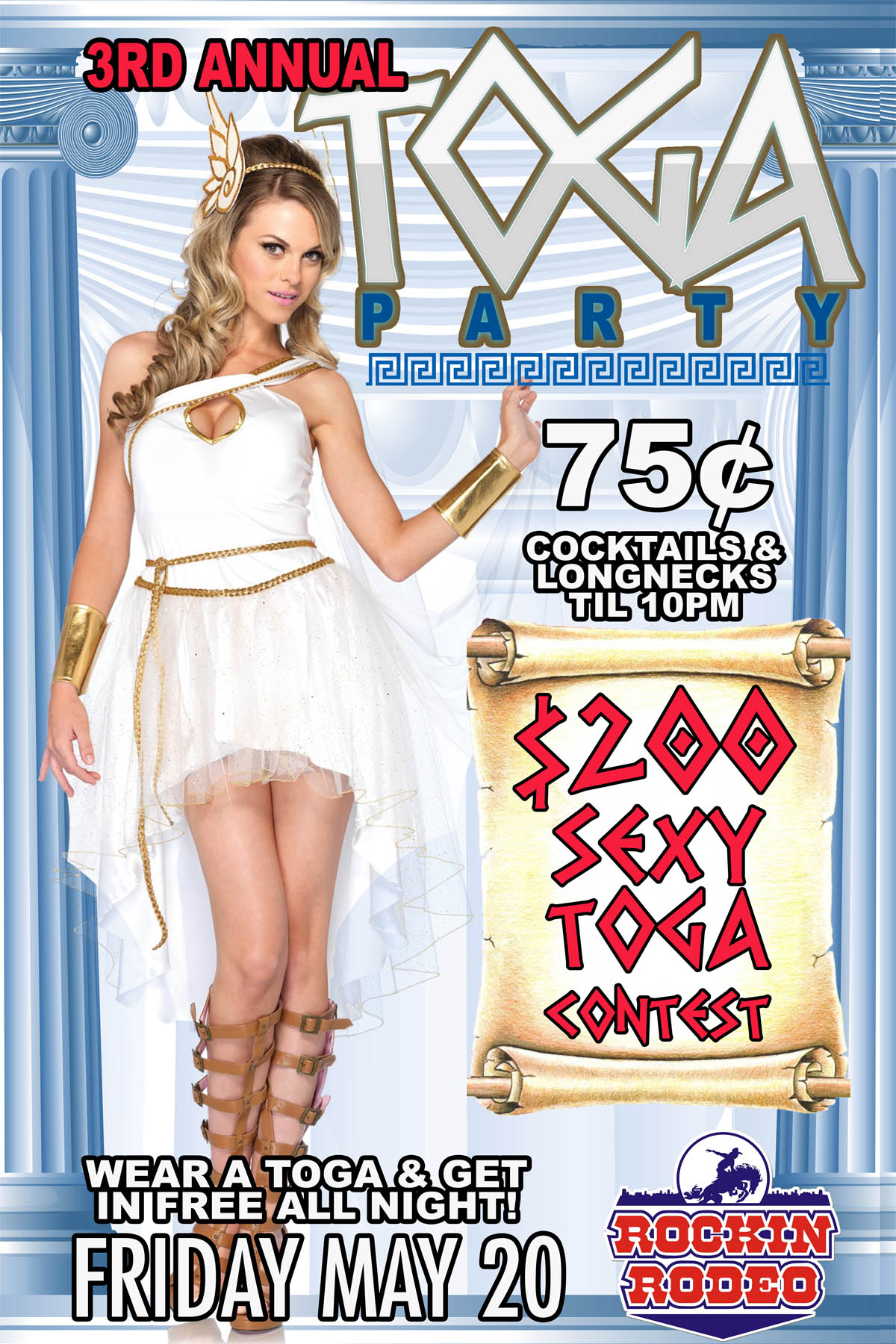 Toga Party Poster Flyer Design For Electric Cowboy Country And Dance Club In St Louis Toga Toga Toga Toga Party Toga Party Poster