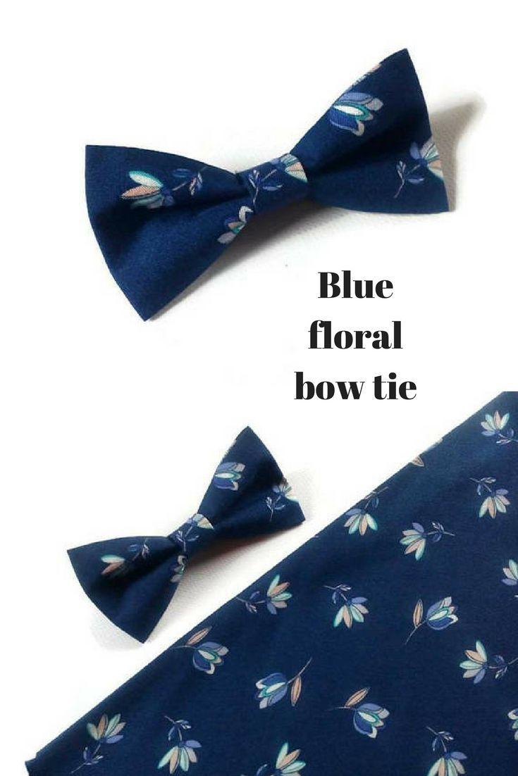 Blue Floral Wedding Bow Tie Skinny Wedding Tie Blue Tulip Pattern Groomsmen Neckties Groom Bow Tie Ring Bearer Pocket Bow Tie Wedding Wedding Ties Groom Bowtie